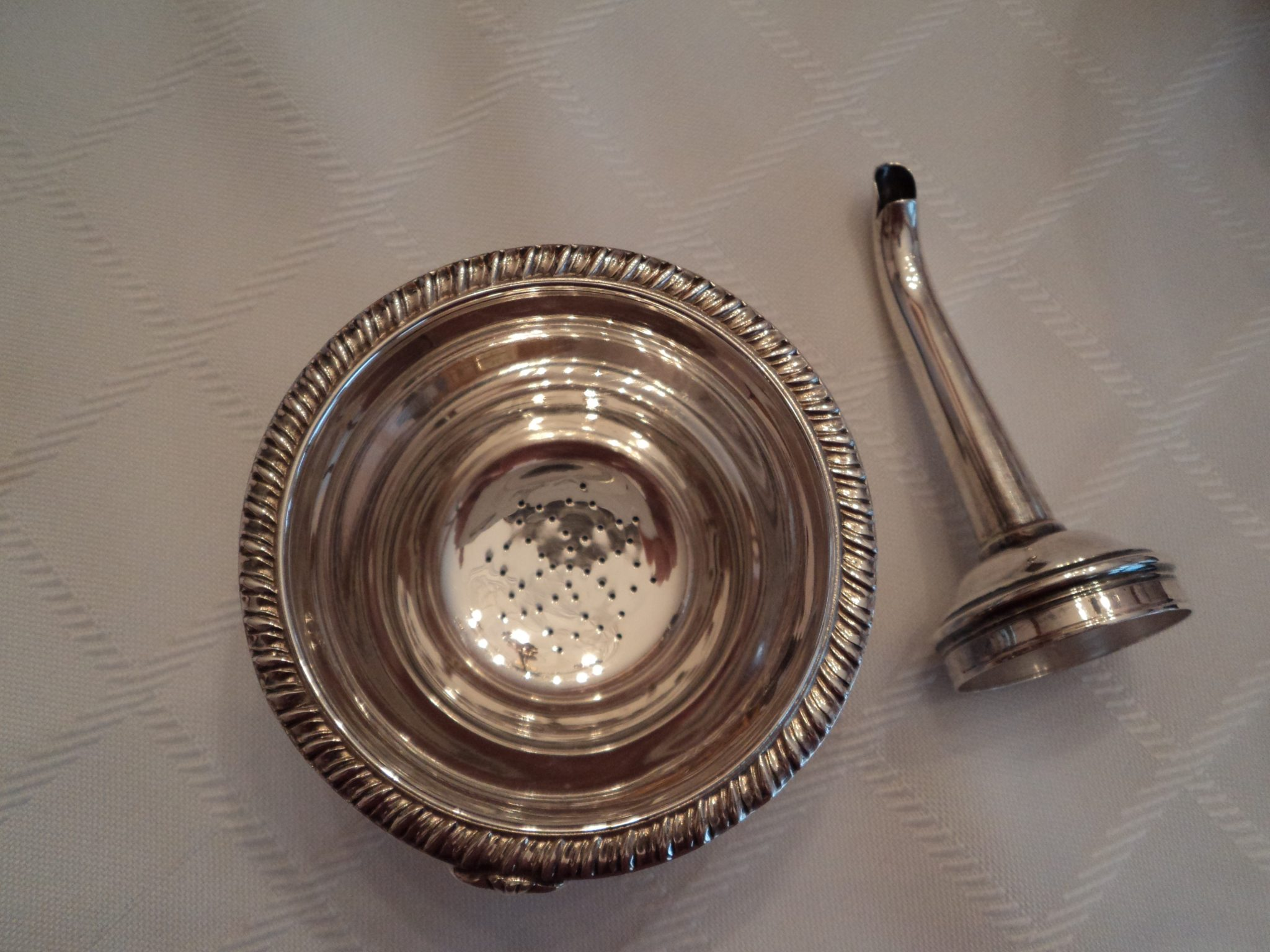 two-piece silver wine decanting funnel